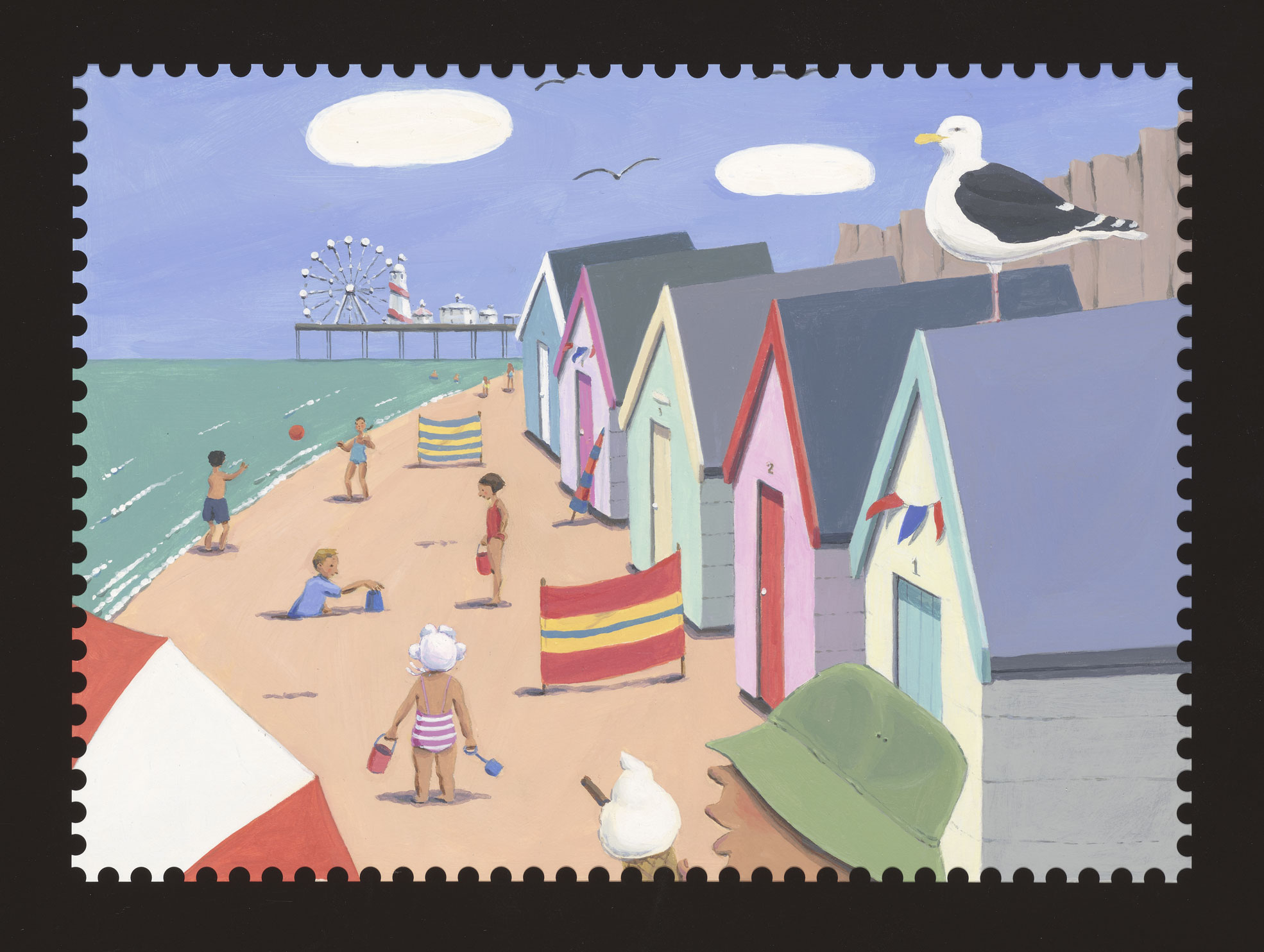 Painting of beach huts and children playing by Rachael Ross.