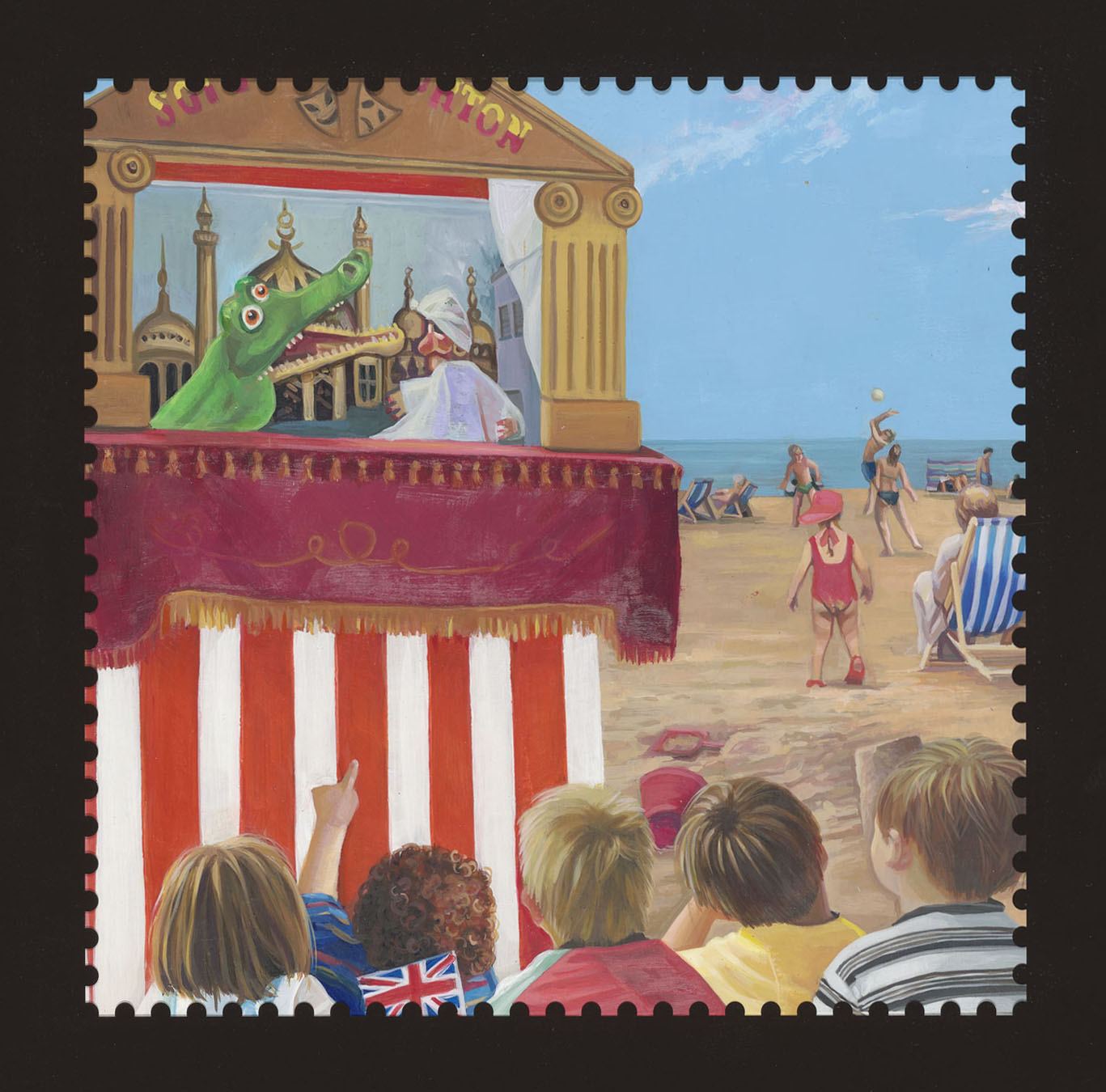 Painting of children watching a Punch & Judy show by Louise Weir.