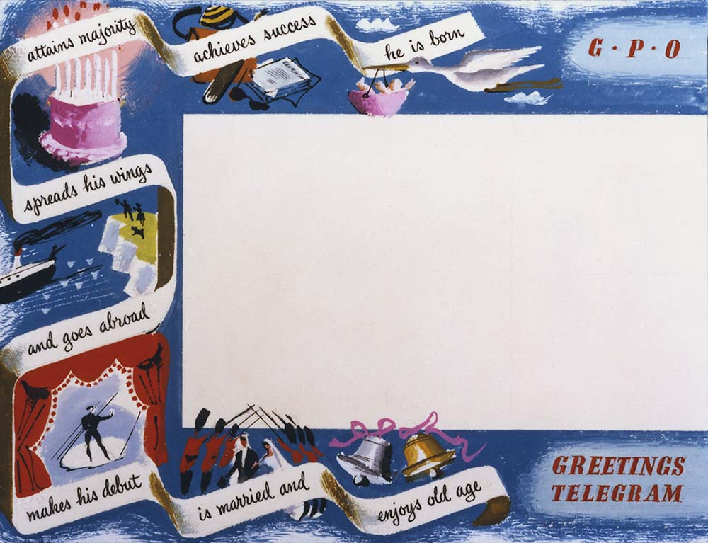 Greetings Telegram artwork, c.1950 (POST 109/668)