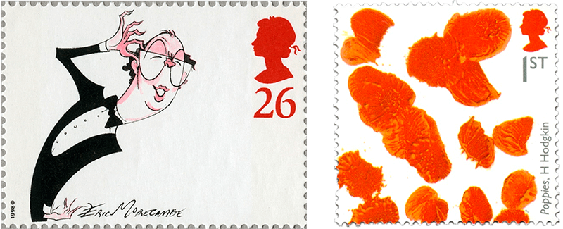 Stamp designs by Eric Morecambe and Howard Hodgkin, showing a cartoon and poppies.