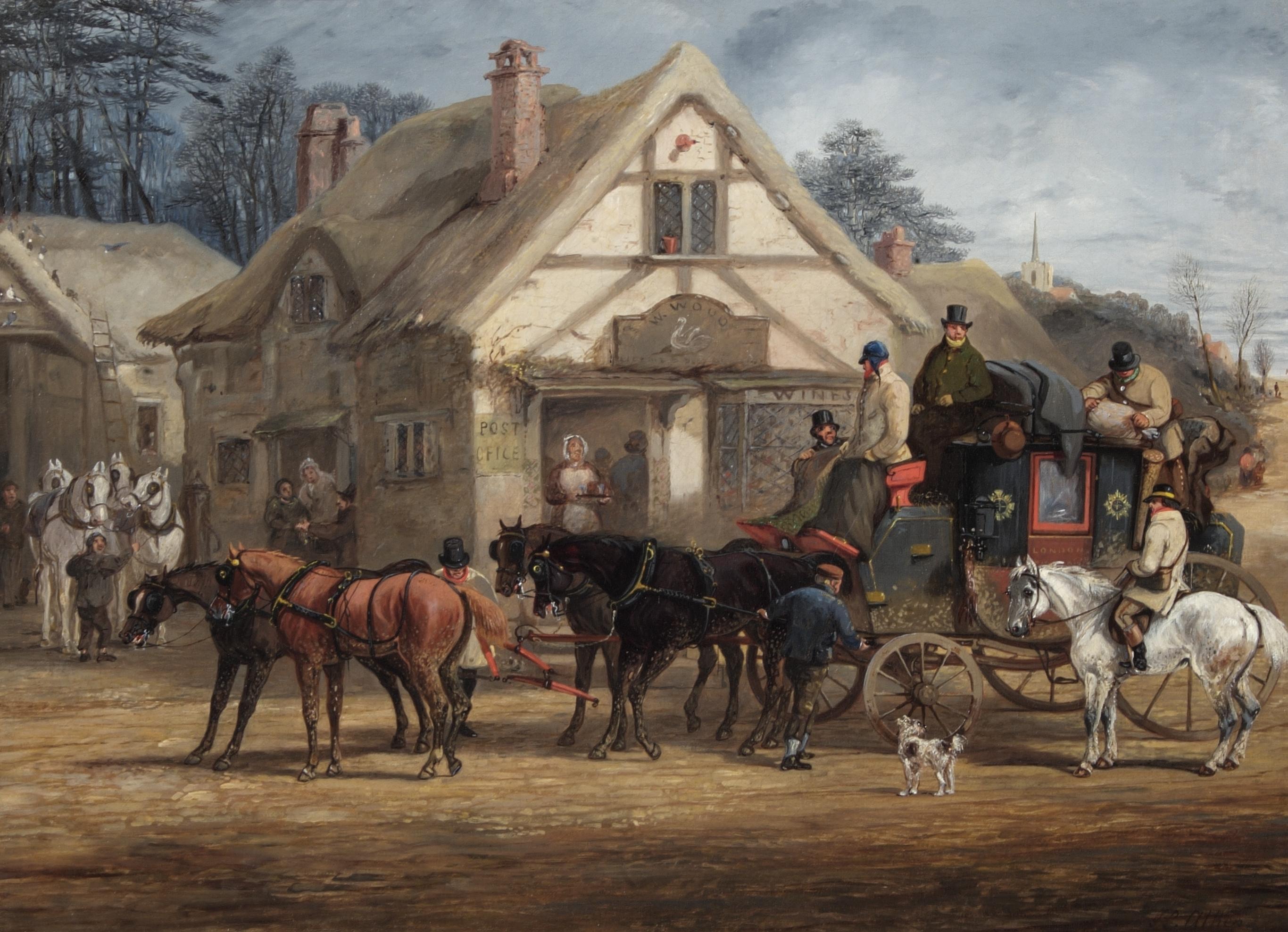 OB1996.324 'A Halted Mailcoach' by Henry Alken Snr.