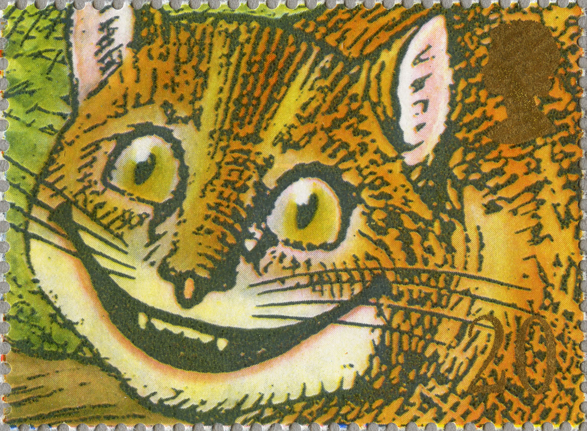 Stamp depicting an illustration of 'Alice in Wonderland's' Cheshire Cat.