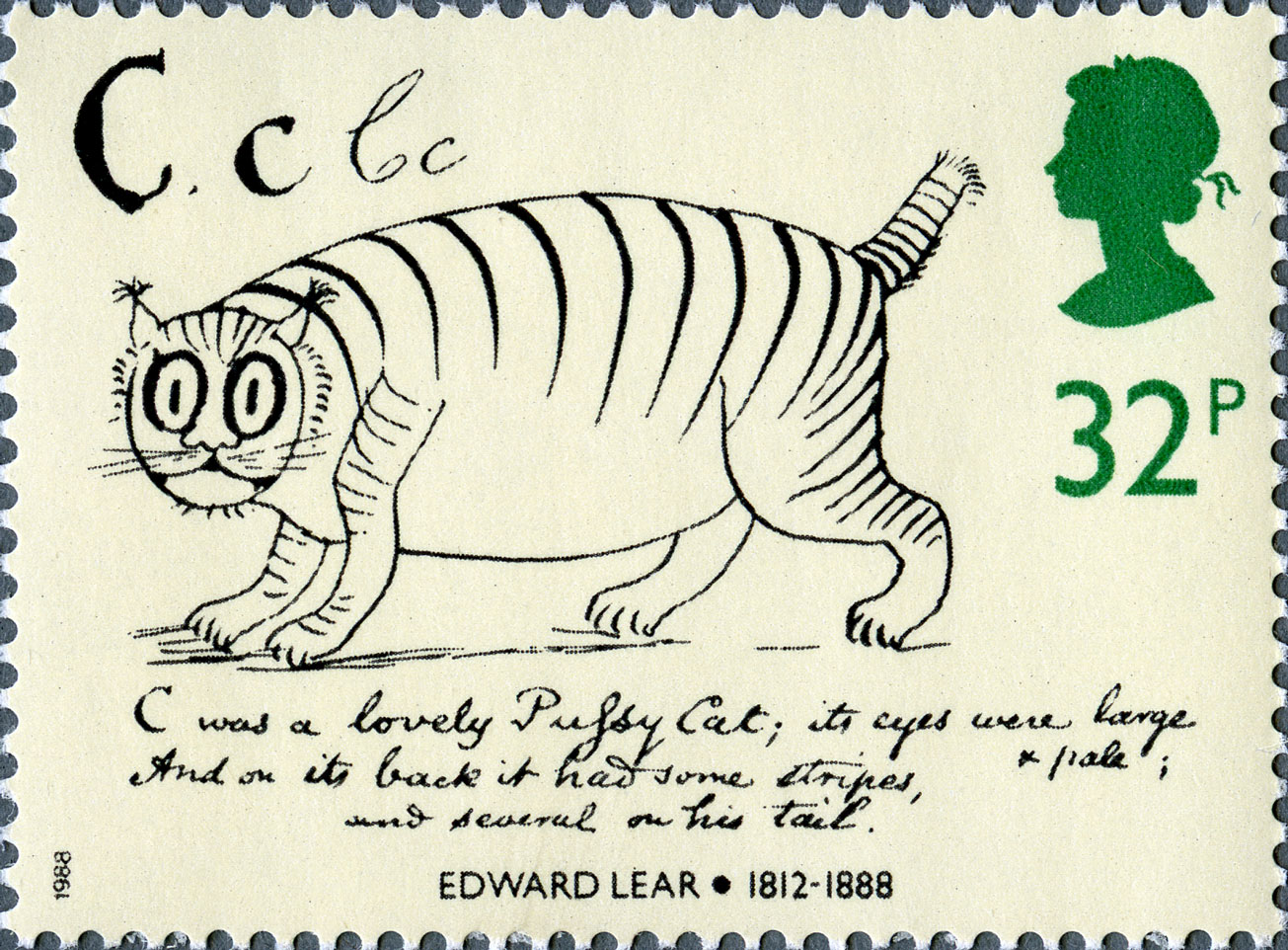 Stamp depicting an illustration of a stripped cat.