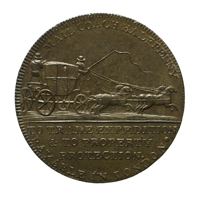 Brass coin that commemorates the work of John Palmer. This side features a mail coach and horses.