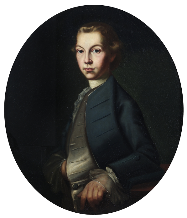 Portrait of a young man, John Palmer, in an oval frame.