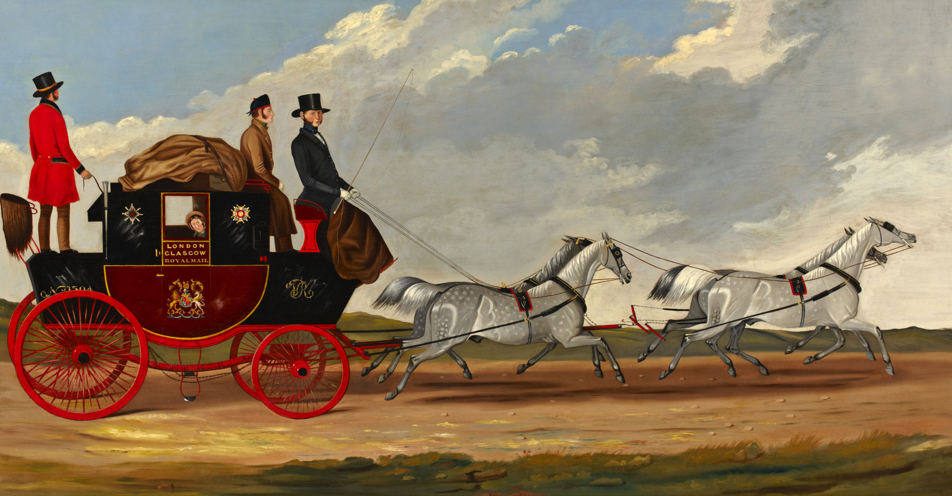 Painting depicting a mail coach carrying passengers led by four horses.