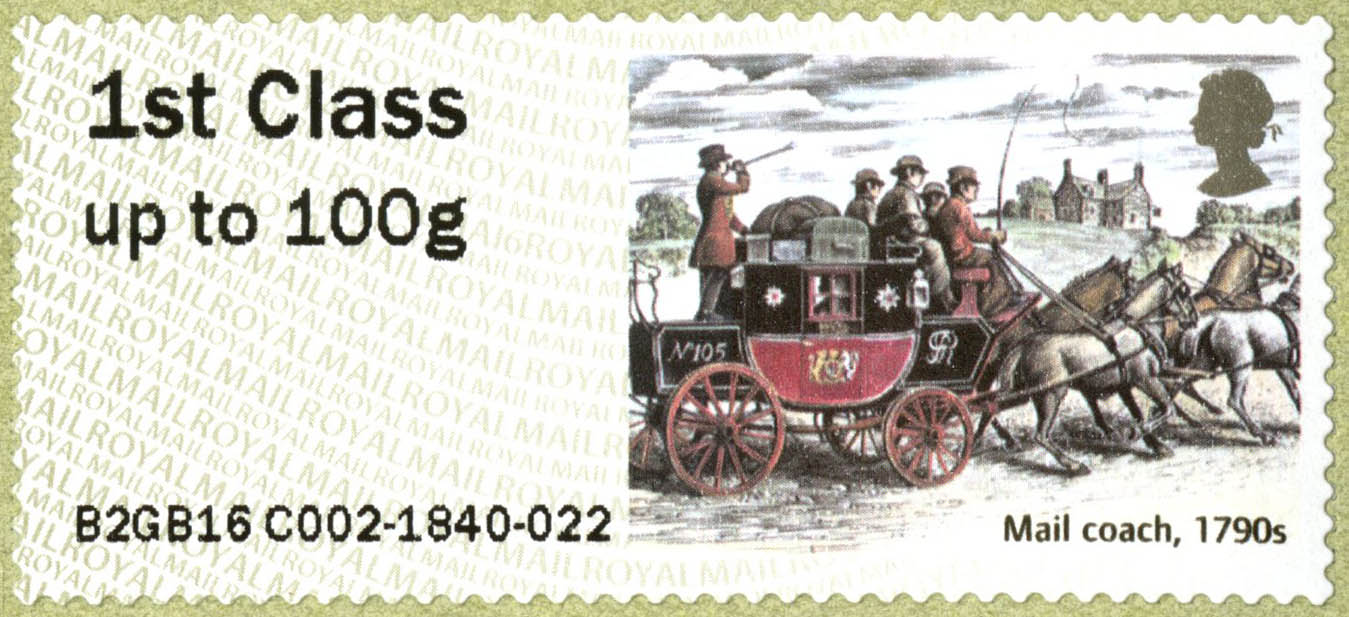 Stamp depicting a mail coach with four horses and a guard blowing a horn.