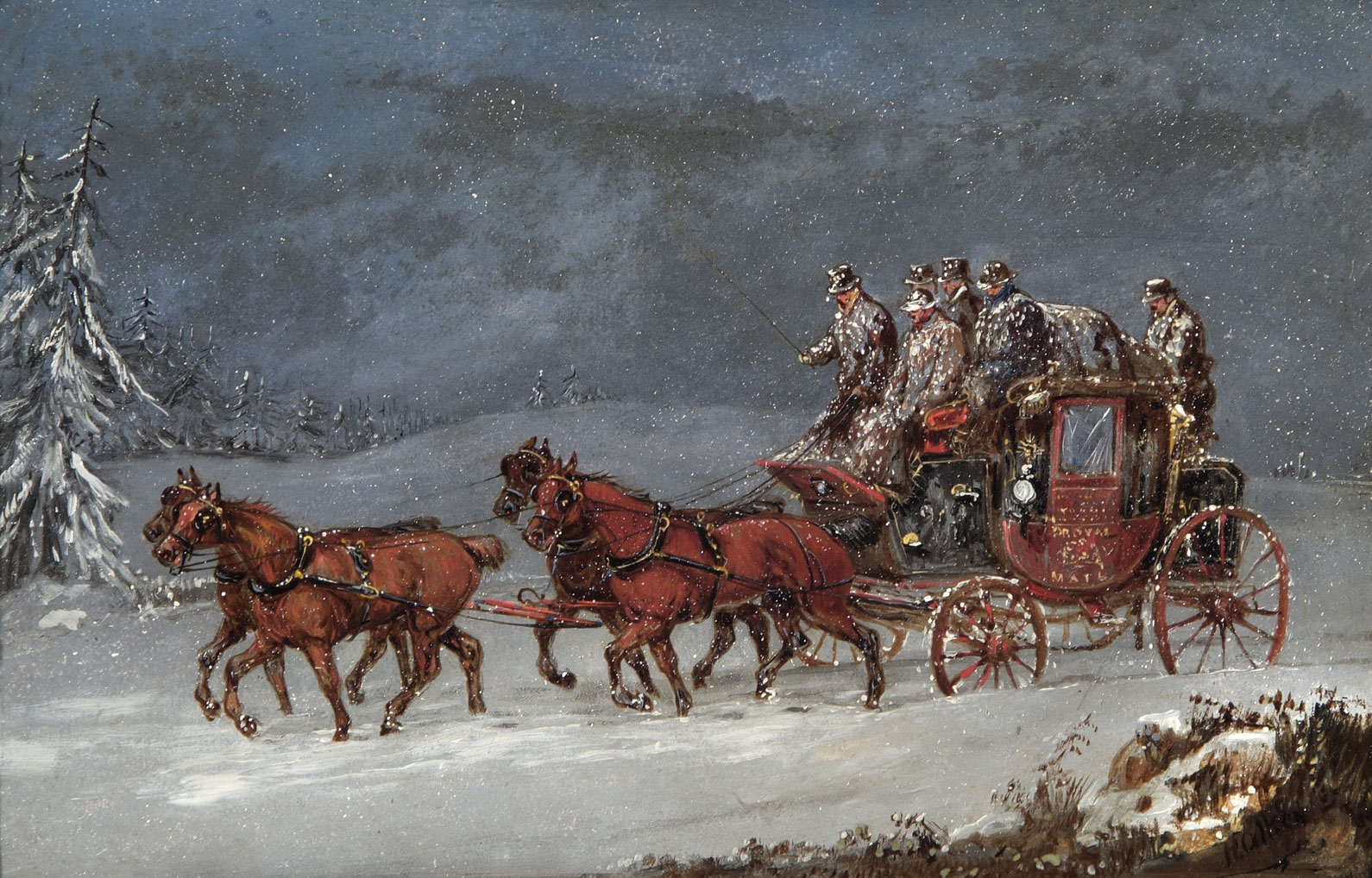 OB1994.225/01 'Mail Coach in Snowstorm' by Samual Henry Alken.