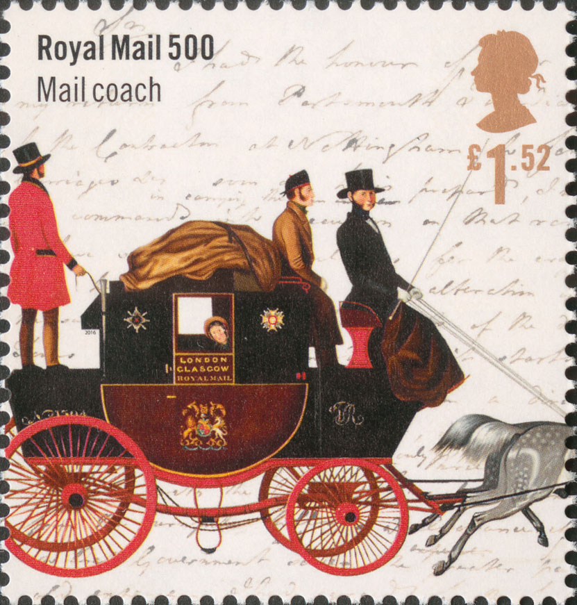 Stamp depicting a Mail Coach with passengers against a letter background.