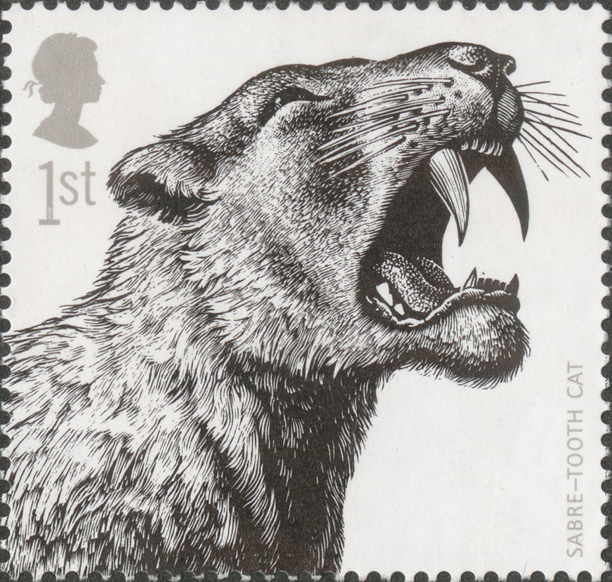 Stamp depicting a black and white illustration of a Sabre-tooth tiger.