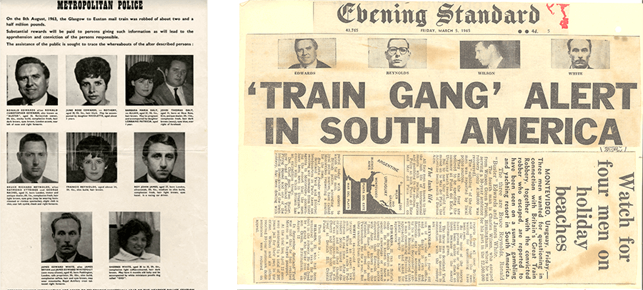 A wanted poster and a newspaper front page showing photographs of the gang involved in The Great Train Robbery.