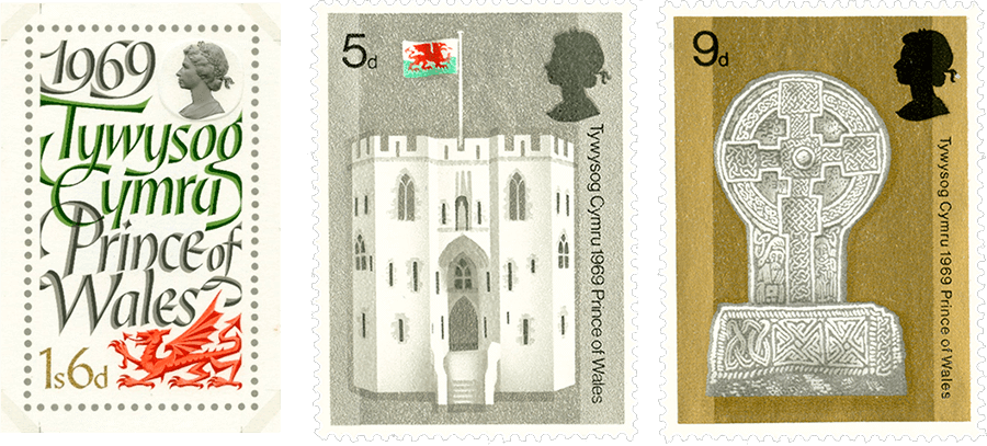 Image of three stamps from 1969, showing a dragon, a castle and cross to celebrate Charles becoming the Prince of Wales.