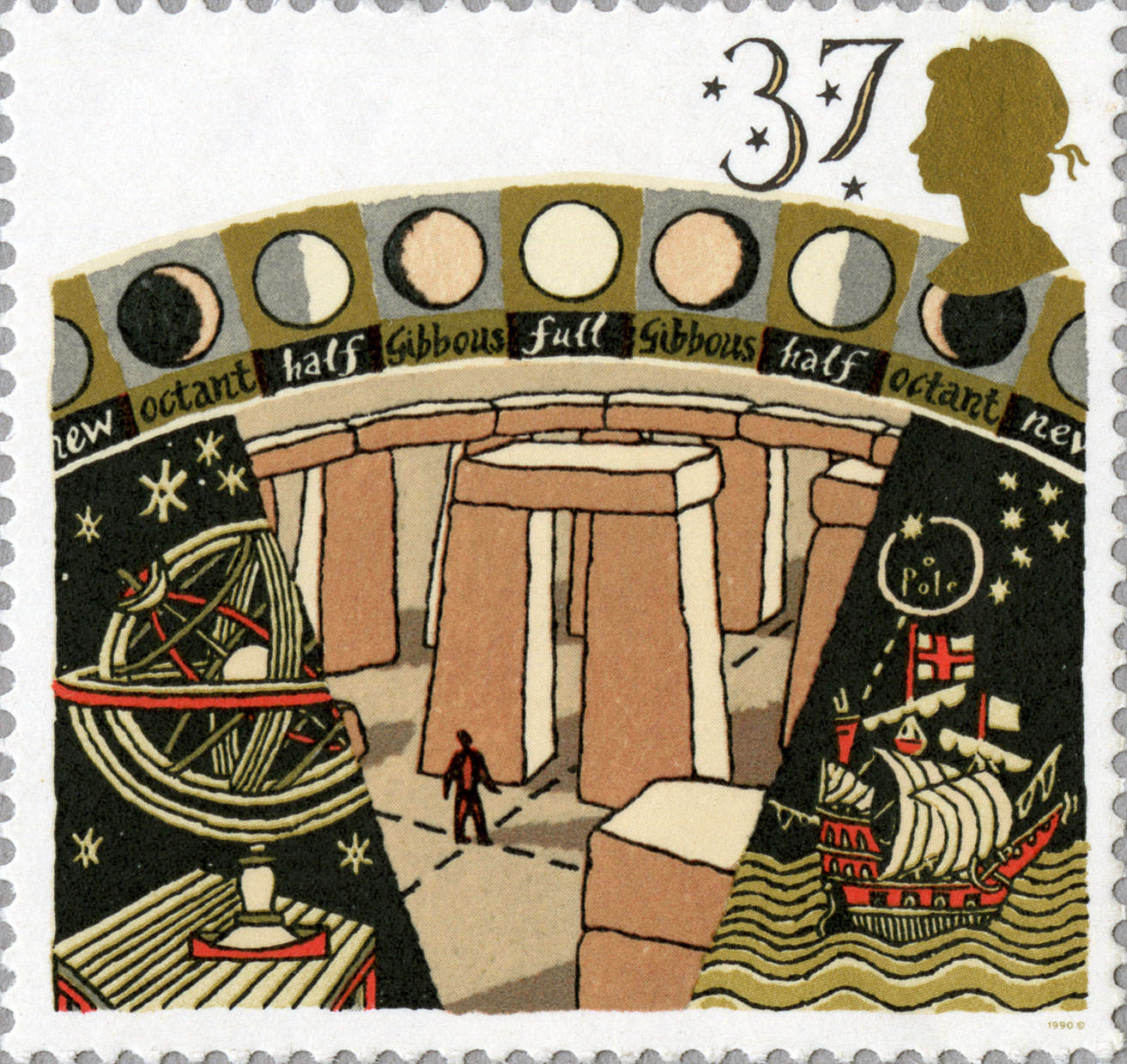Stamp depicting early astronomy, including a drawing of Stonehenge.