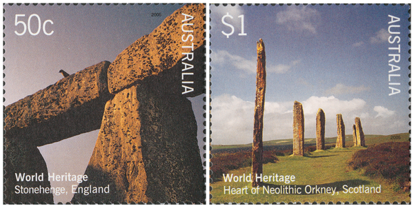 Two stamps depicting British World Heritage sites with Australian currency.