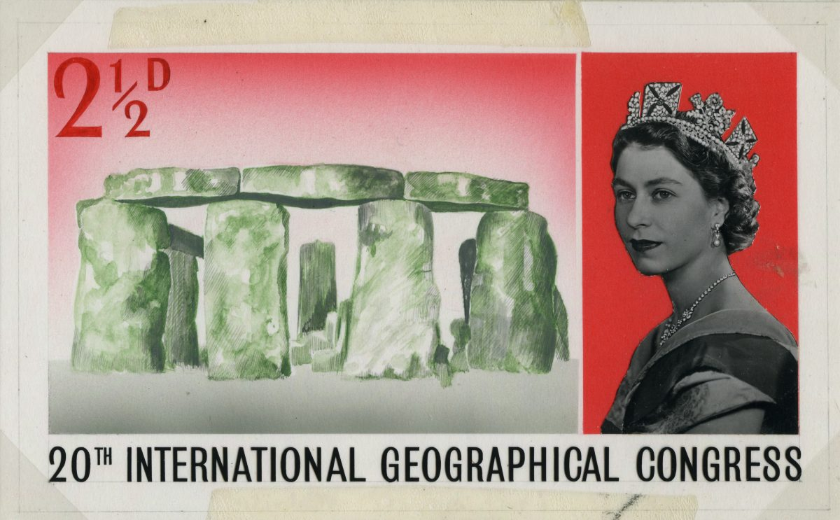 Stamp depicting a three quarter image of the Queen on the right and a sketch of Stonehenge on the left.