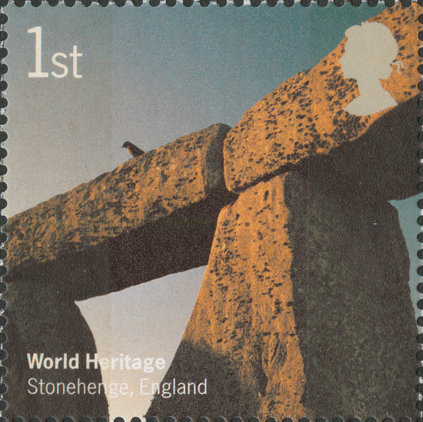 Stamp depicting a close up of the stones at Stonehenge.