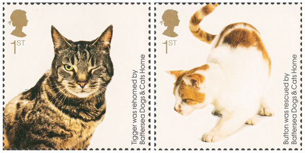 Two stamps depicting cats that have been rehoused by Battersea Cats and Dogs Home.