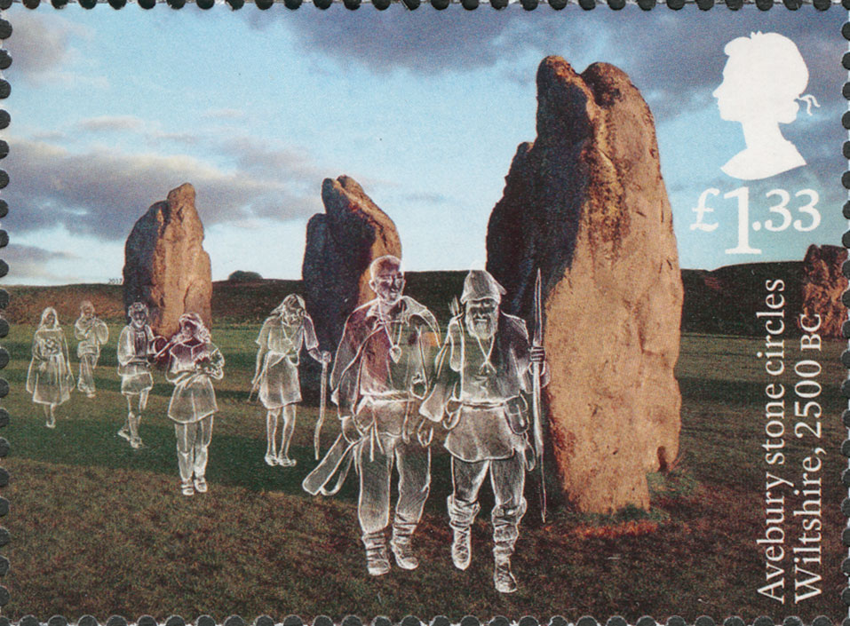 Stamp depicting Avebury stones and line drawings of ancient Briton figures.