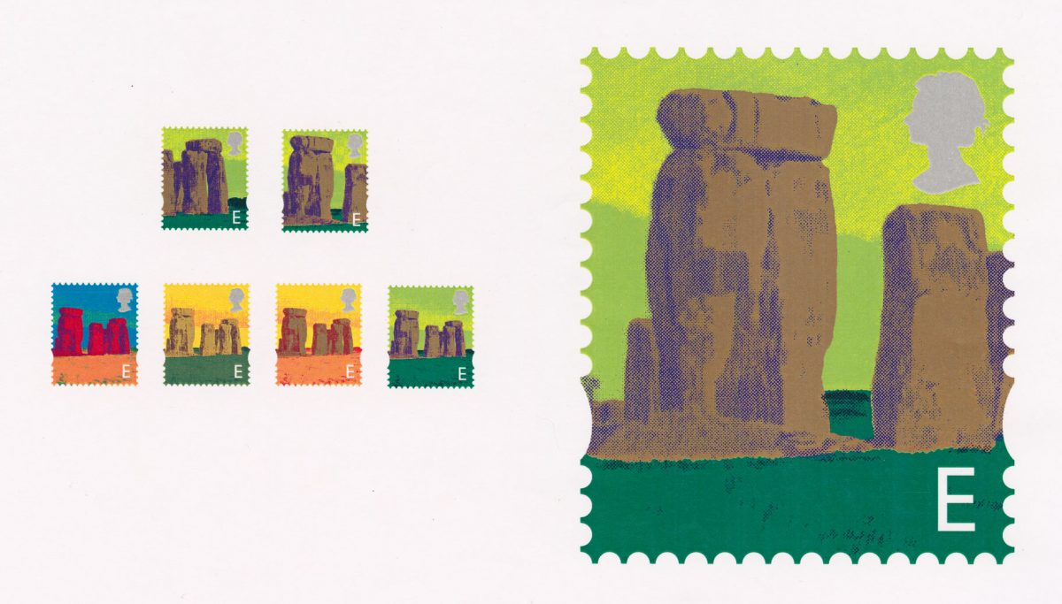Designs for a new English definitive stamp featuring Stonehenge in different colours.