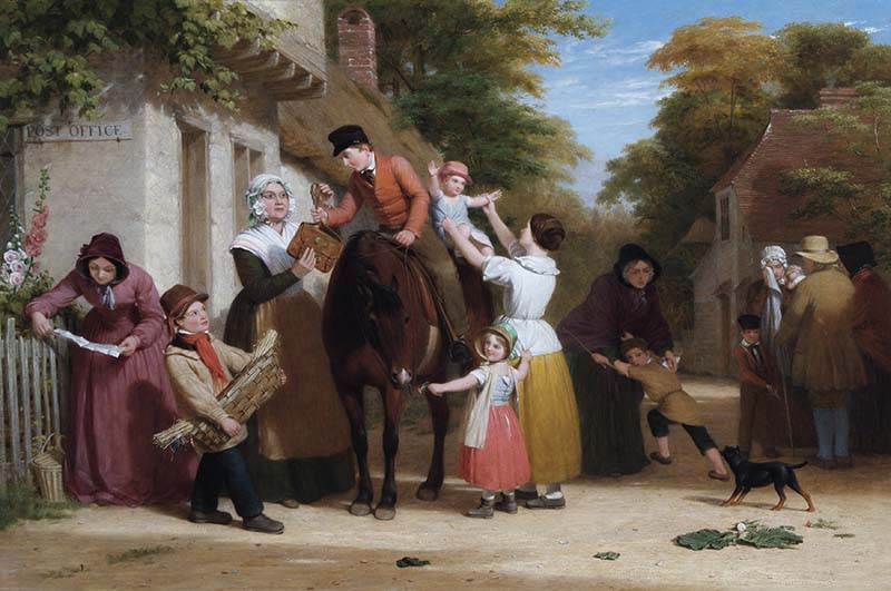 An oil painting showing a letter carrier delivering post on horseback to villagers
