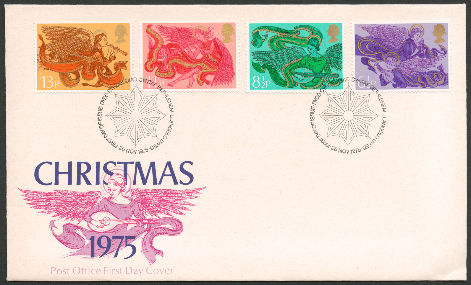 Image of a First Day Cover from 1975 featuring all issued stamps and two Bethlehem postmarks.