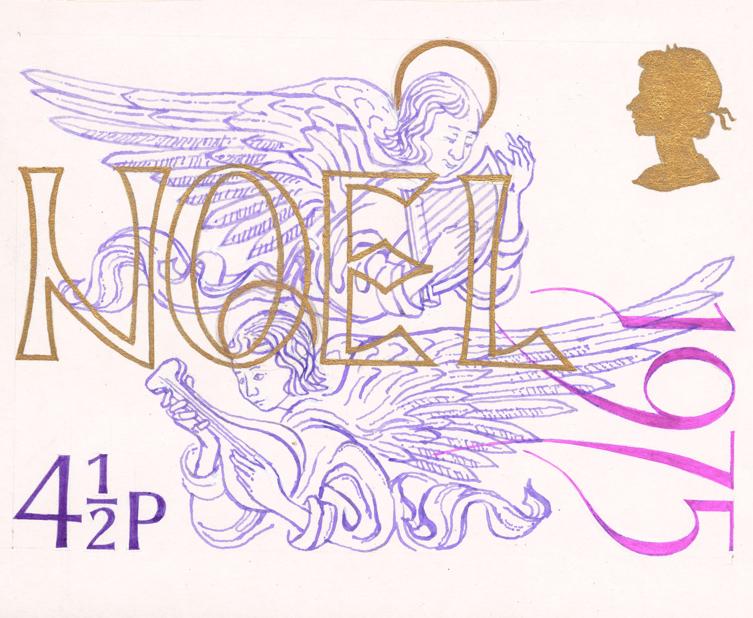 Image of two flying angels and the word 'Noel' in gold and purple.