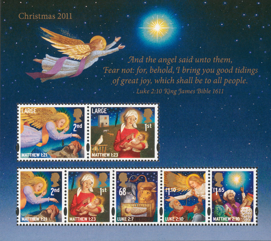 Image of the Christmas 2011 miniature featuring all the issued stamp a an extract from Luke 2:10.