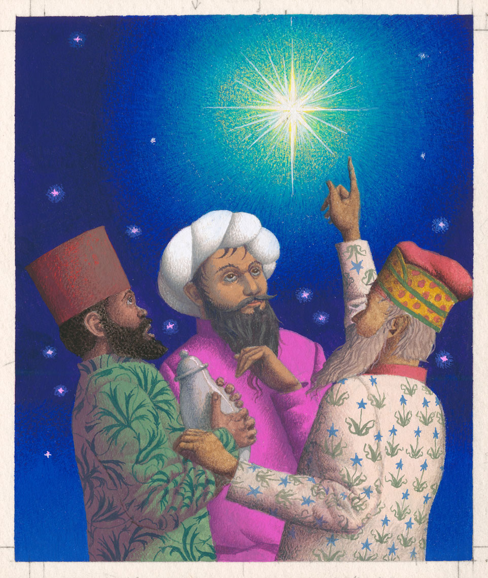 Artwork featuring three men pointing to a star.