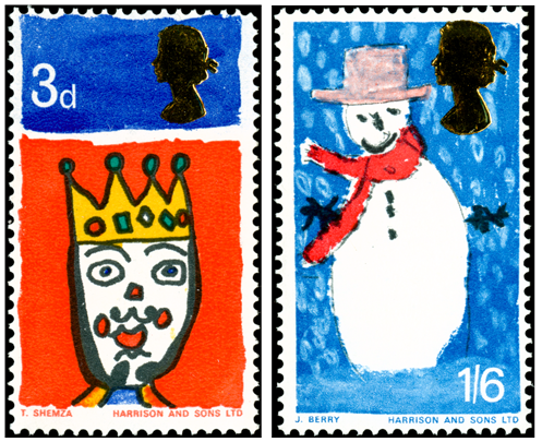 Two stamps depicting Christmas drawings by children.