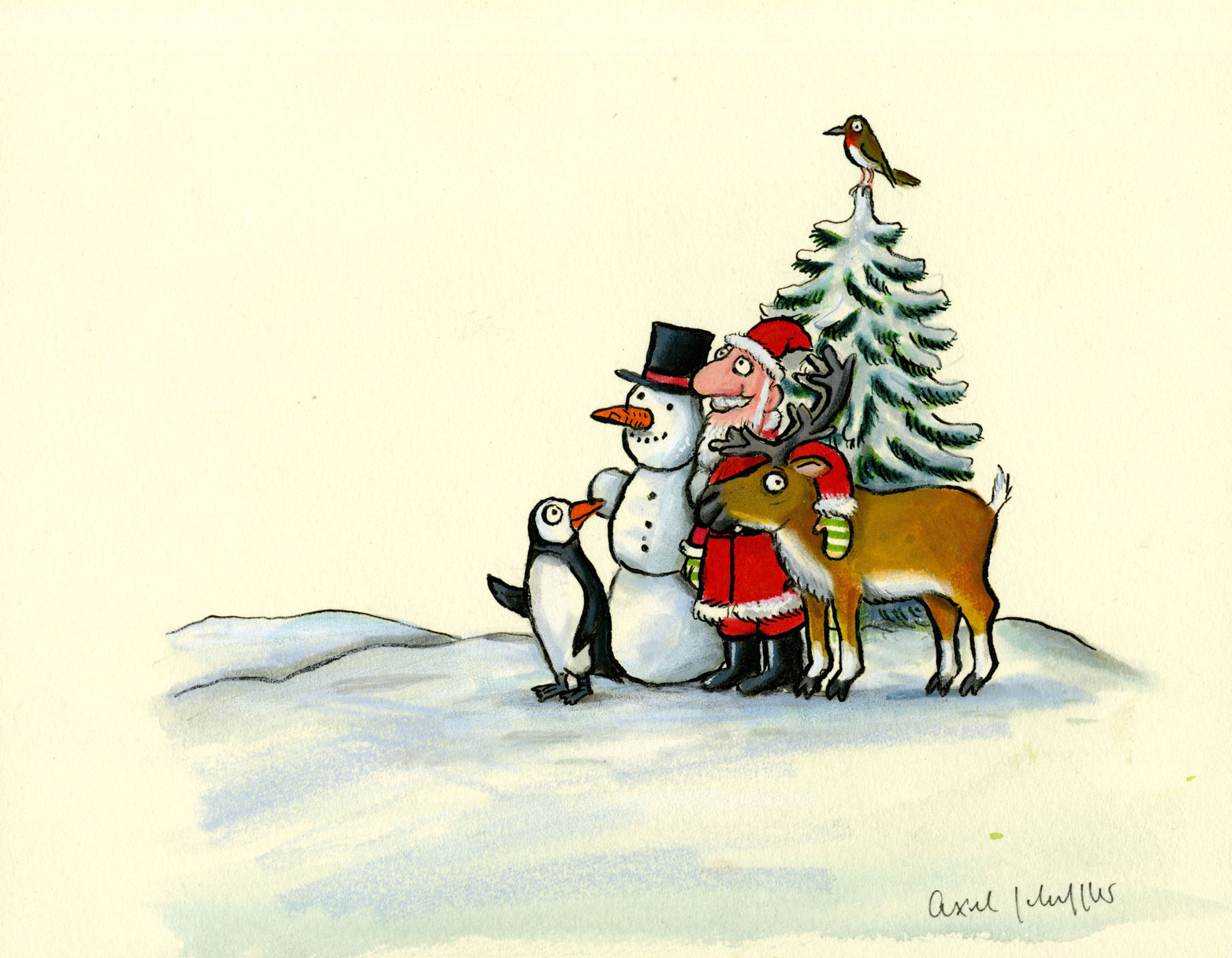 Painting of Father Christmas, a snowman, a penguin and a reindeer stood by a tree.