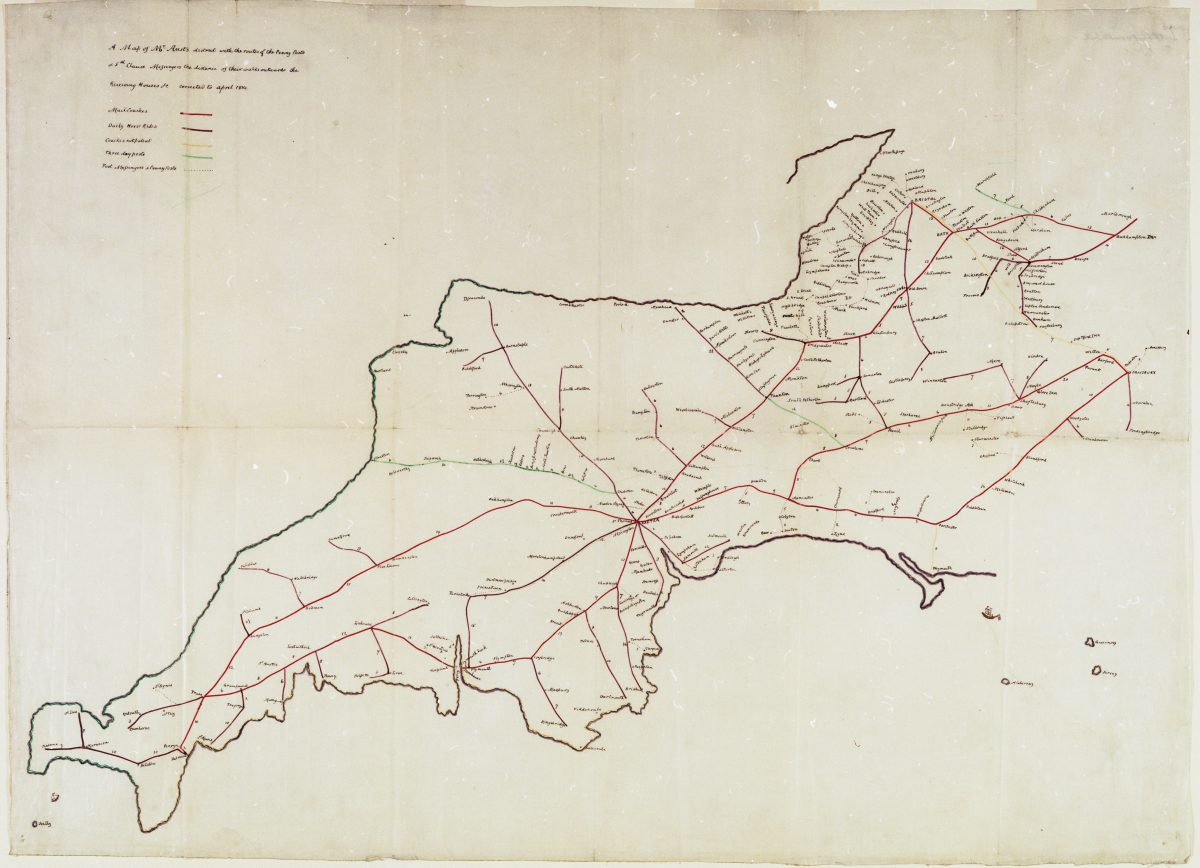 A map containing the mail coach routes across the South-West of England in 1814.