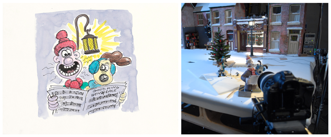 A colour sketch of Wallace and Gromit carolling along with a production shot of the same scene.