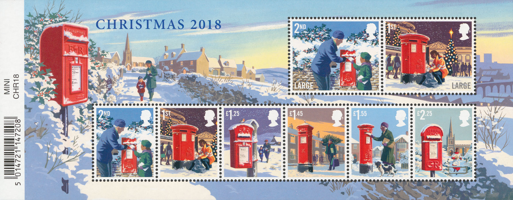 A miniature sheet featuring all the issued Christmas stamps from 2018 in a wintry landscape setting.