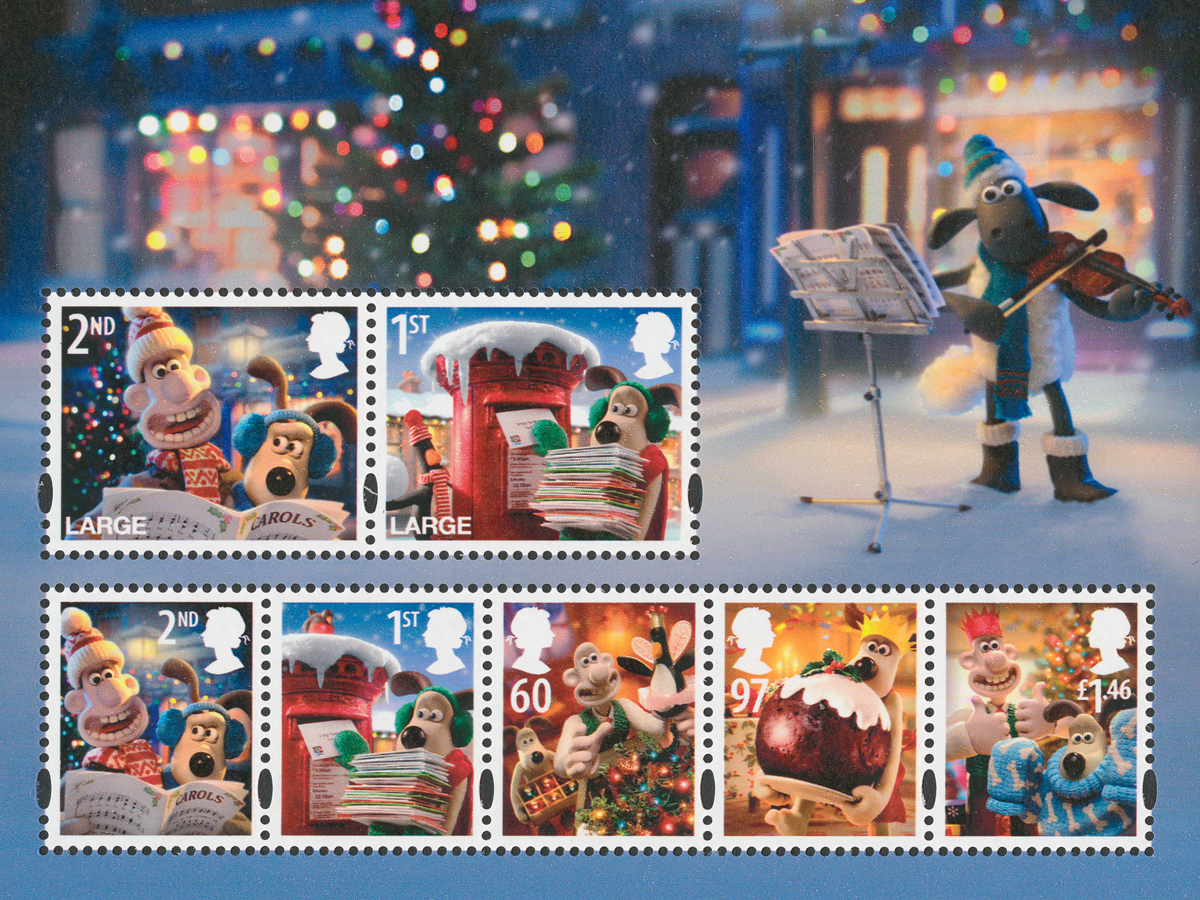 Image of the miniature sheet featuring the 7 issued stamps and a background with Shawn the sheep playing the violin.