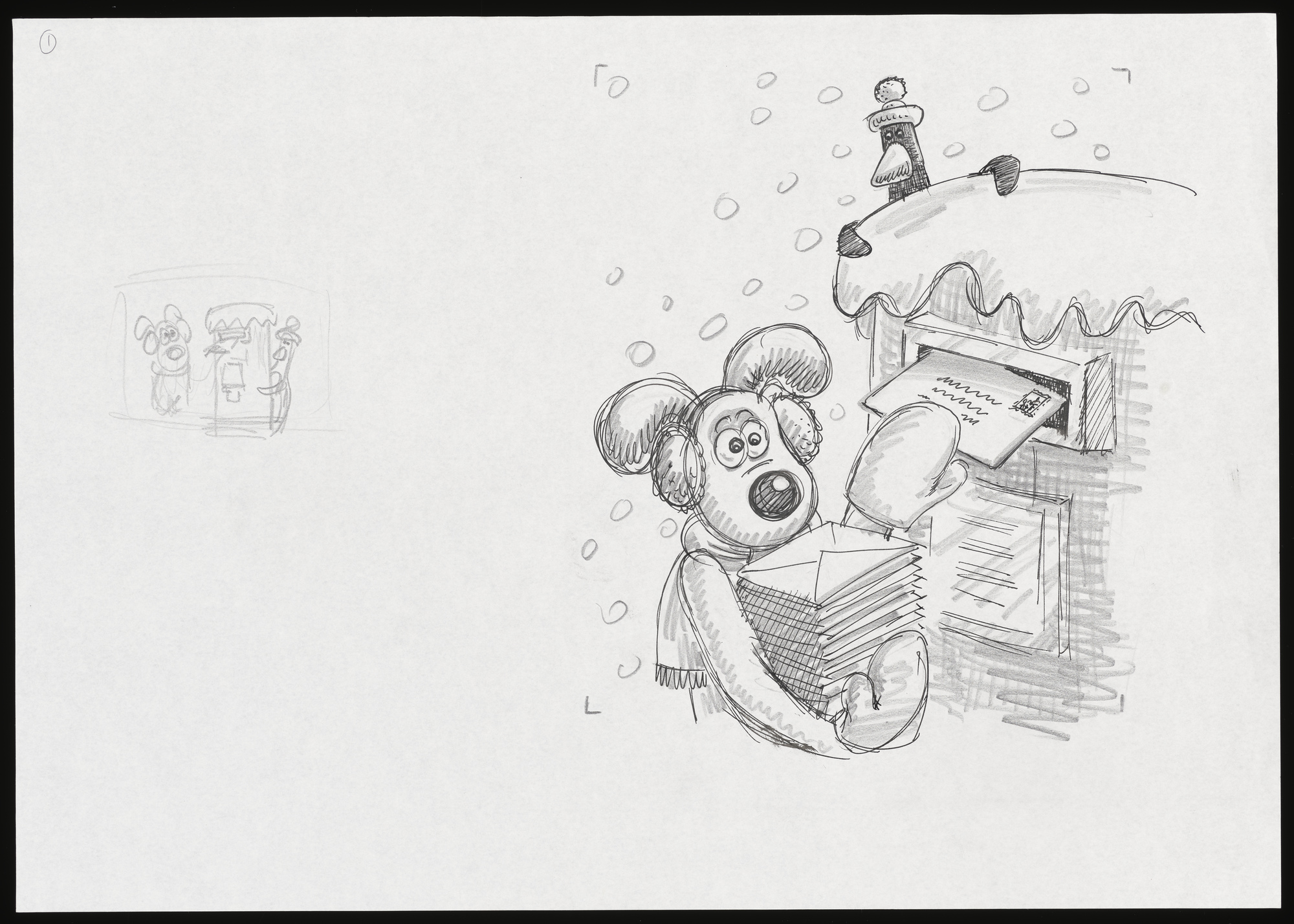 Pencil sketch of Gromit posting letters into a pillar box.