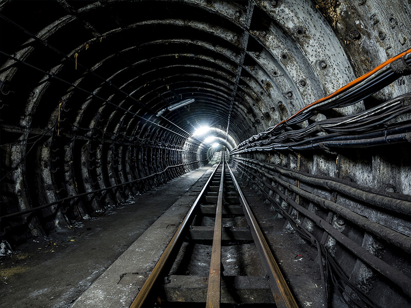 Photograph showing the inside of a Mail Rail tunnel