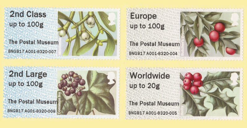 Set of 4 Winter Greenery Post and Go Stamps from The Postal Museum