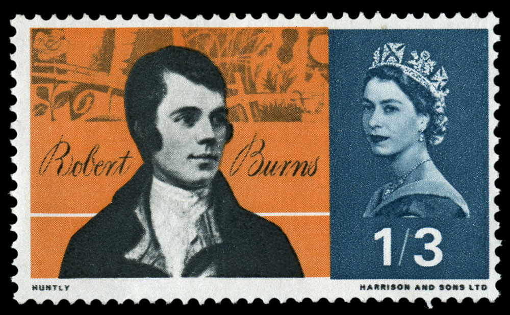 Stamp depicting a head and shoulder portrait of Robert Burns.