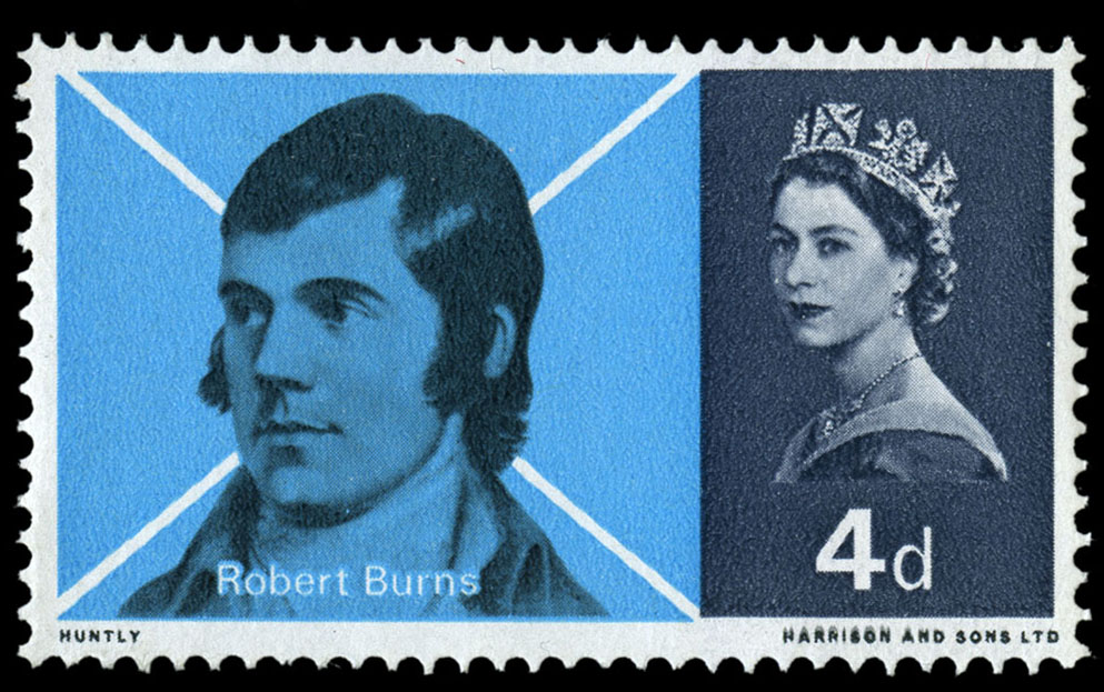 Stamp depicting a portrait of Burns against a white cross on a blue background.