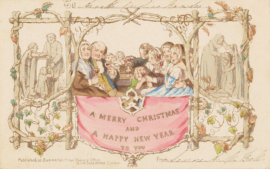 The first Christmas card featuring people drinking together and the message 'A Merry Christmas and a Happy New Year to you'.