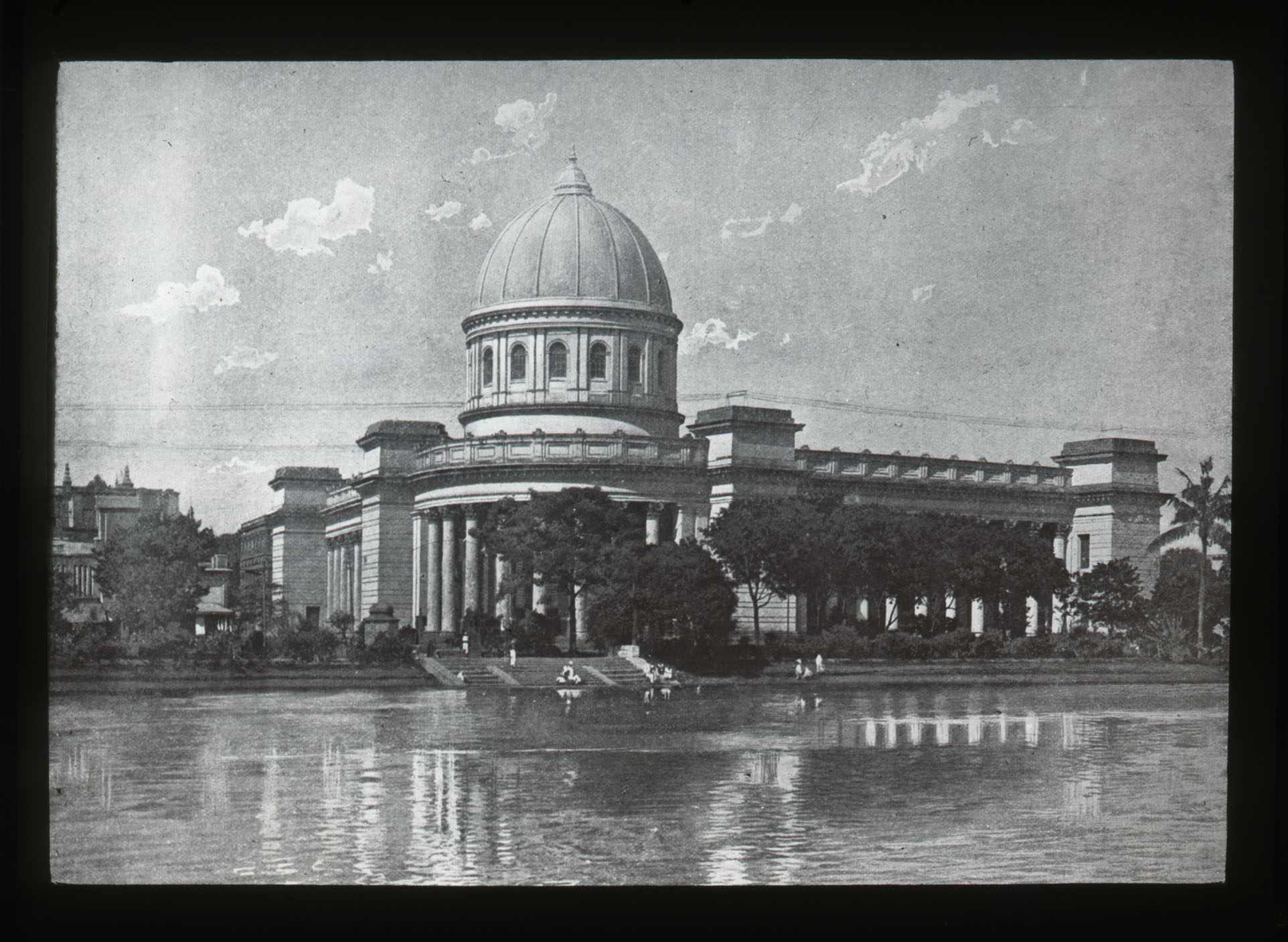 Black and white lantern slide of the domed General Post Office in Calcutta.