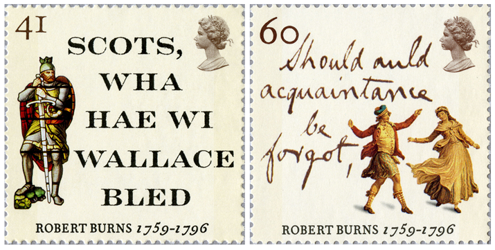 Two stamps depicting passages from Burns poetry along with a knight and a couple dancing.