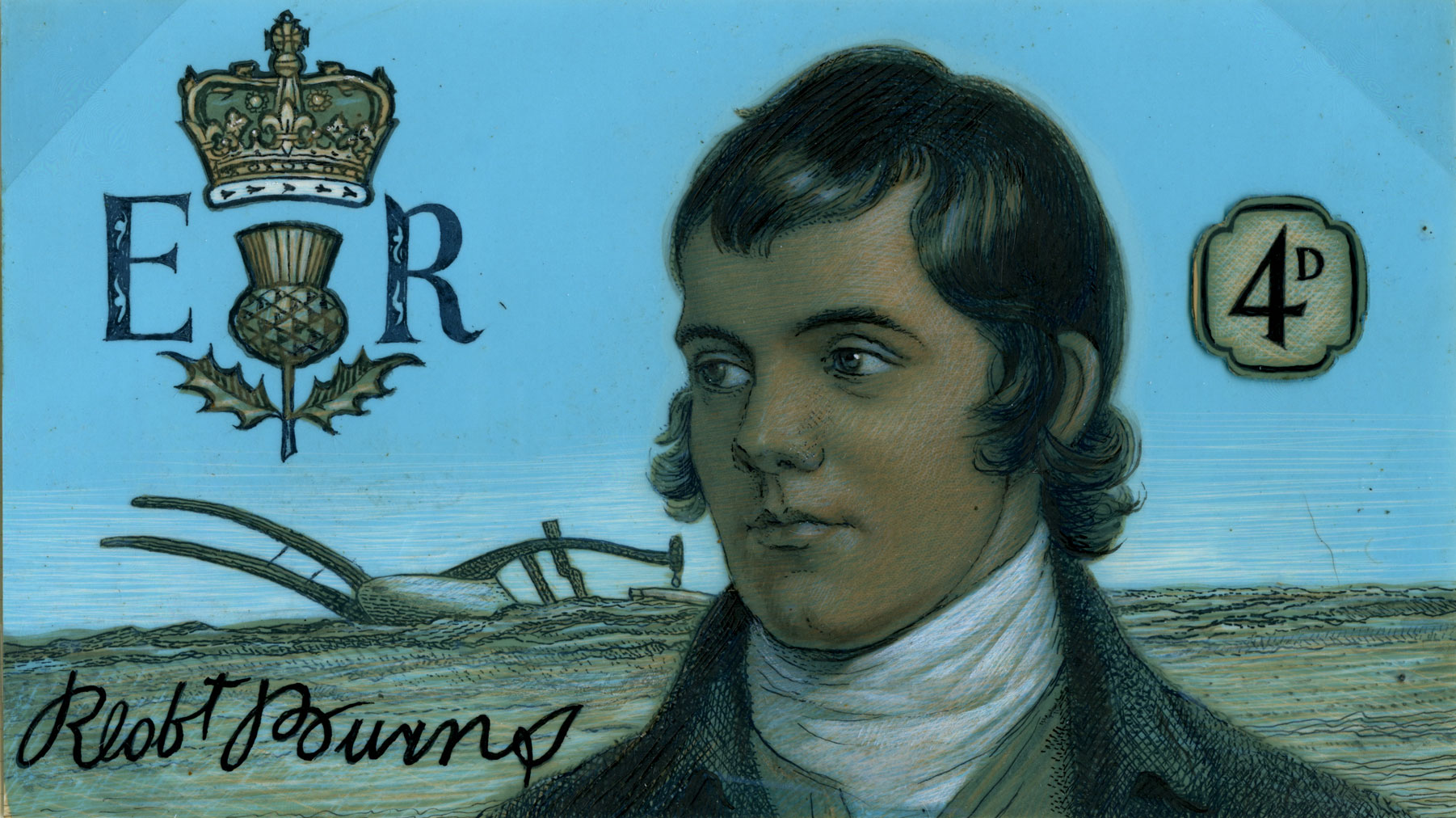 Stamp depicting a portrait of Burns along with his signature and an ER cypher with thistle.