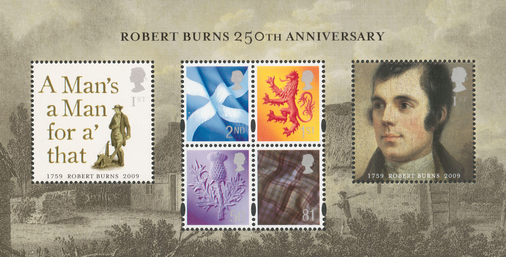 Miniature sheet featuring four Scotland country definitives and two commemorative stamps of a Burns portrait and the title of one of his songs.