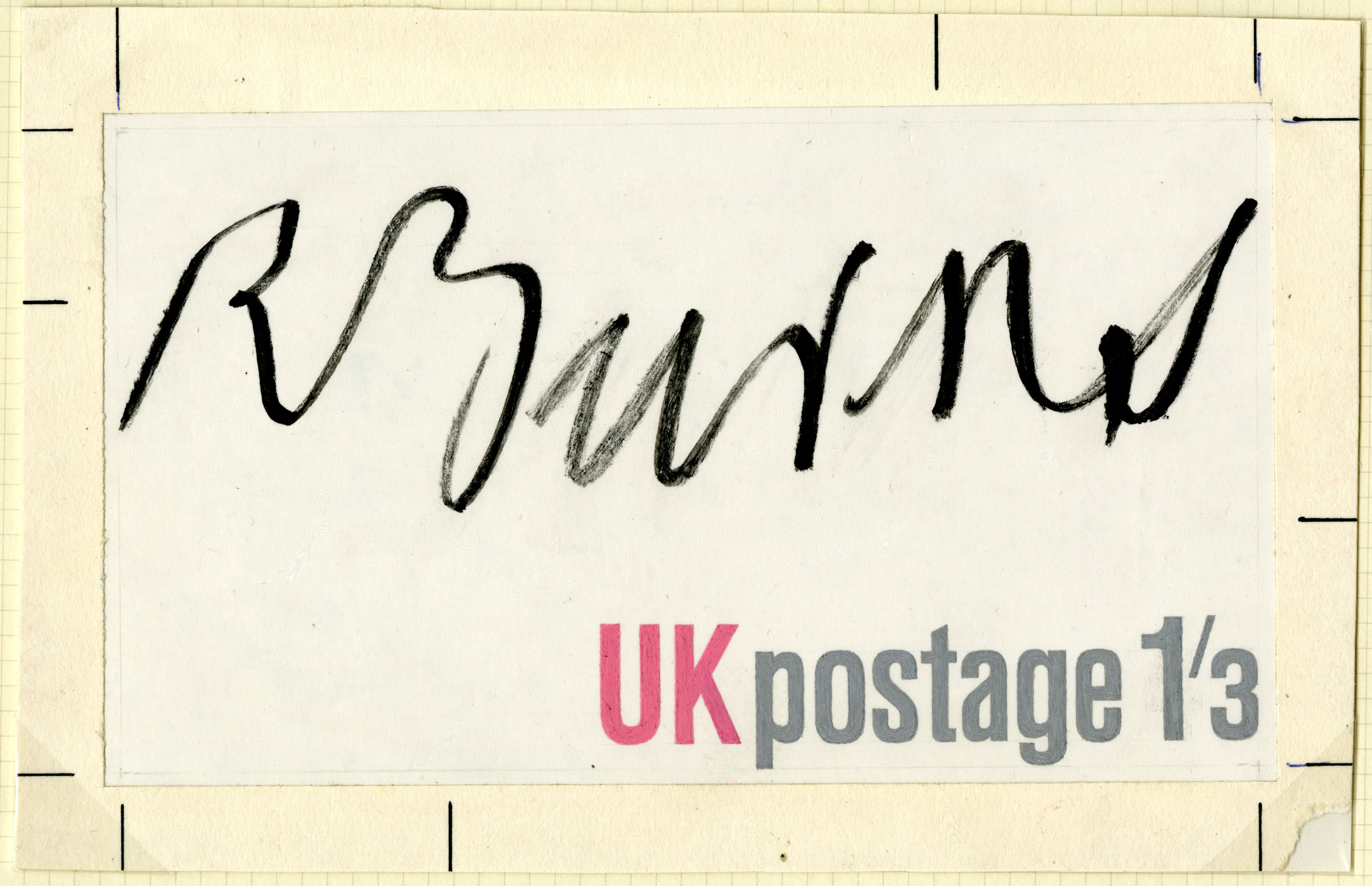 Stamp design featuring the signature of Robert Burns and the words 'UK postage'.
