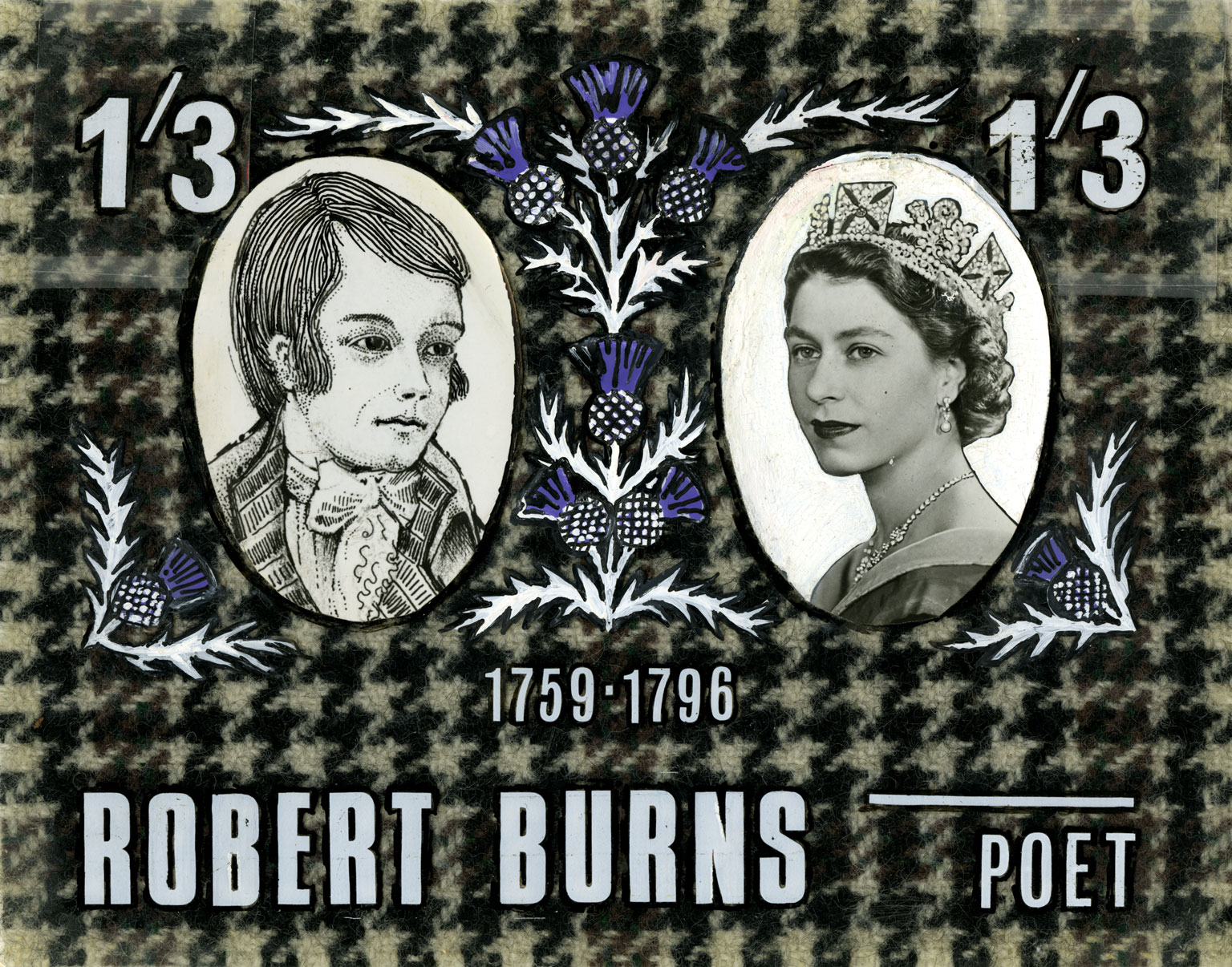 A stamp design featuring a portrait of Robert Burns and Queen Elizabeth II on a tartan background.