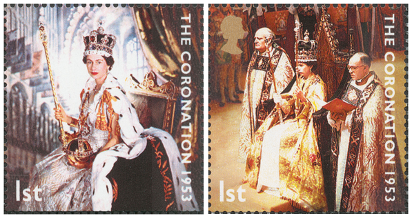 Two stamps depicting the Queen Elizabeth II in her coronation outfit with sceptre and orb.