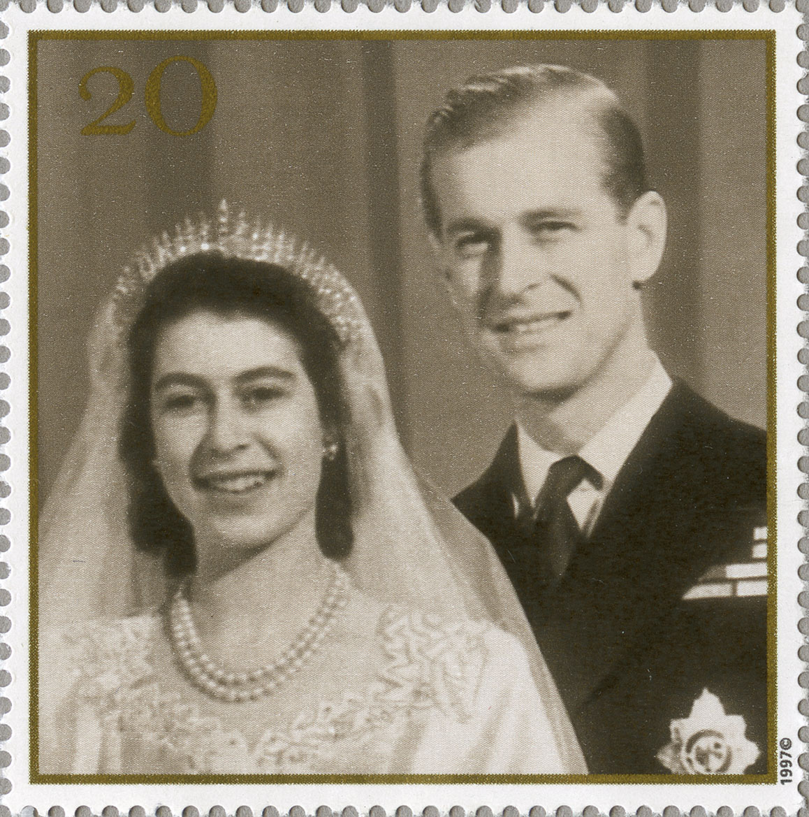 A stamp depicting the black and white photograph of Queen Elizabeth II and the Duke of Edinburgh on their wedding day.