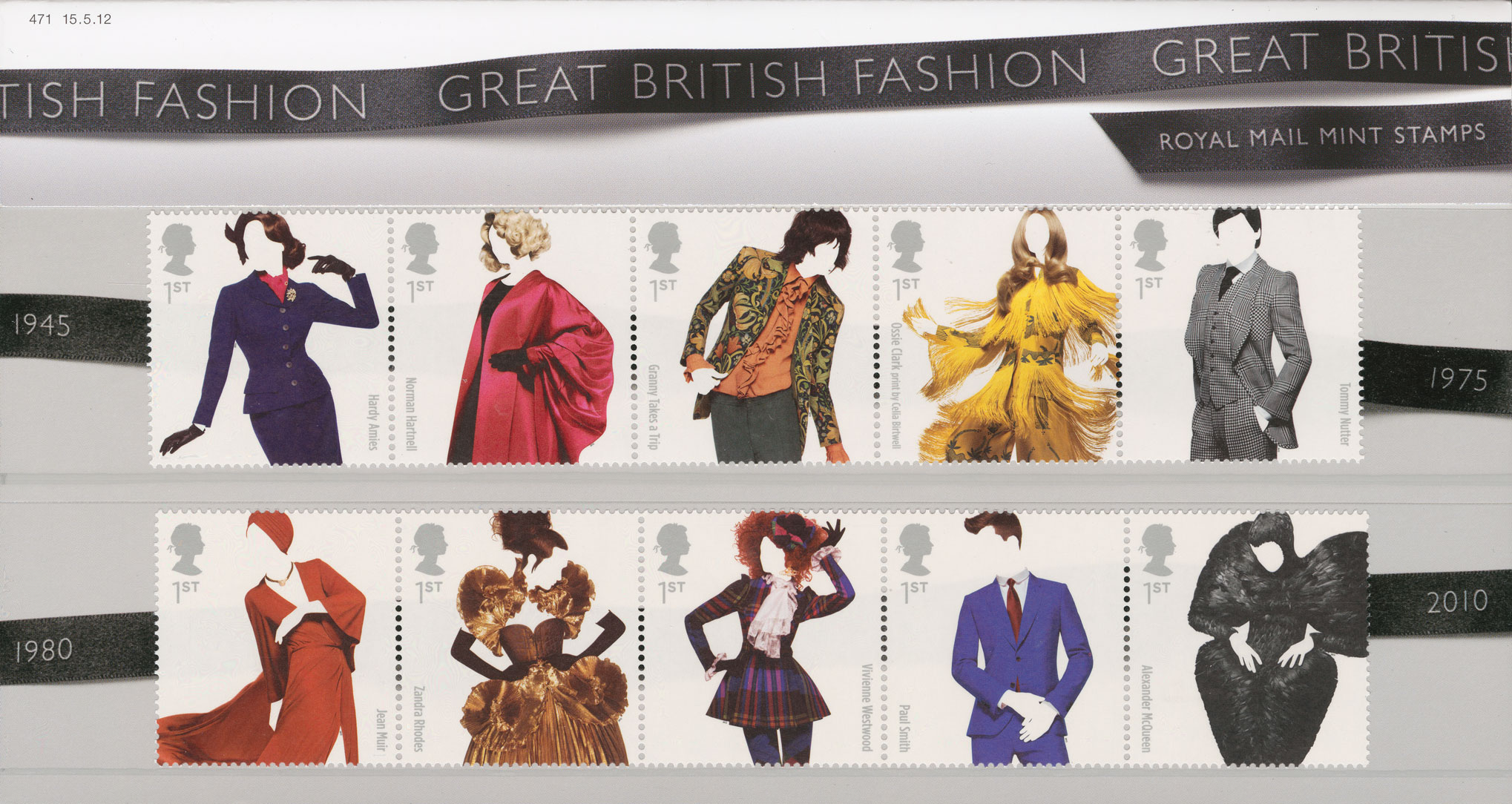A Presentation Pack consisting of 10 stamps of models wearing clothes by different designers.