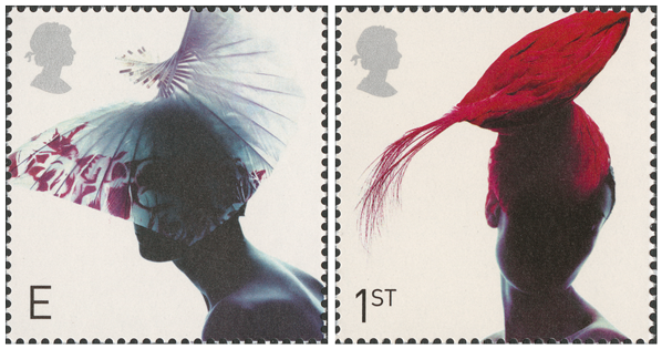 Two stamps depicting decorated hats on women in shadow.